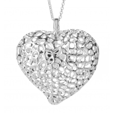 Rachel Galley H100-SV Women's Amore Heart Lattice Locket