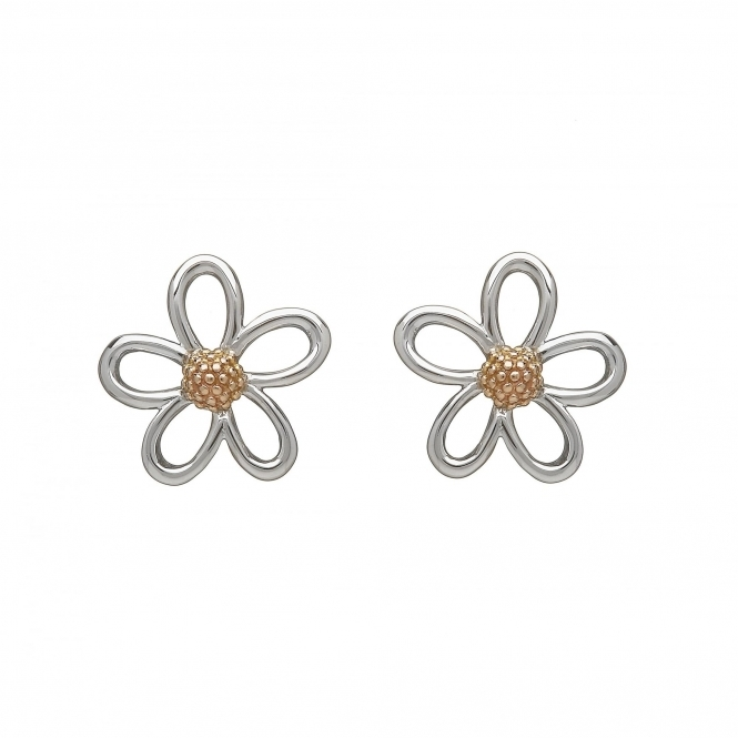 House Of Lor H-30070 Silver & Rose Gold Open Petals Stud Earrings