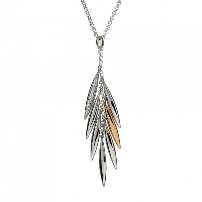 House Of Lor H-40018 Silver/Rose Gold Feather Pendant