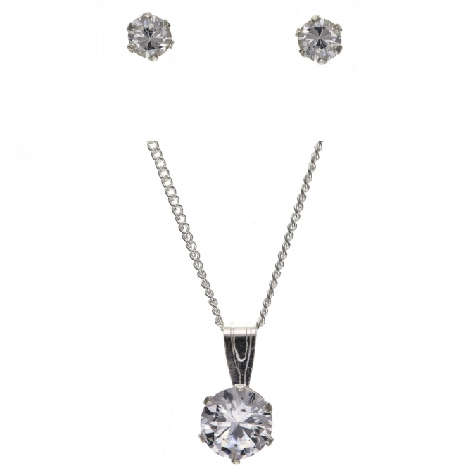 HS Johnson HSJ-SET-001 Crystal Ear Studs And Pendant Set