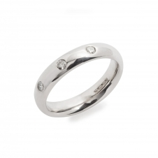 HS Johnson HSJMR003 18ct White Gold Band With Three Diamonds