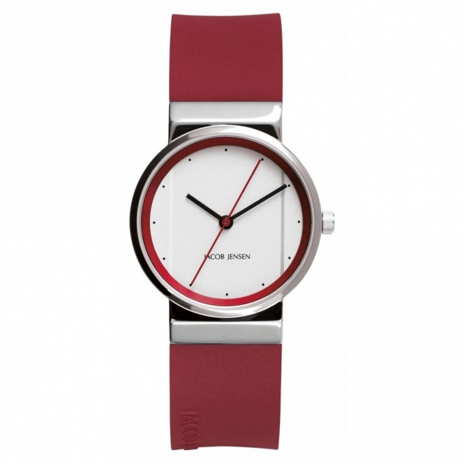 Jacob Jensen 766 Women's' Red Silicone Strap Wristwatch