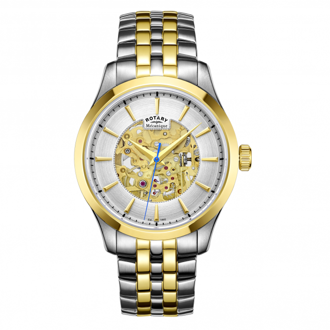 Rotary GB05033-06 Men's Mecanique Skeleton Two Tone Wristwatch