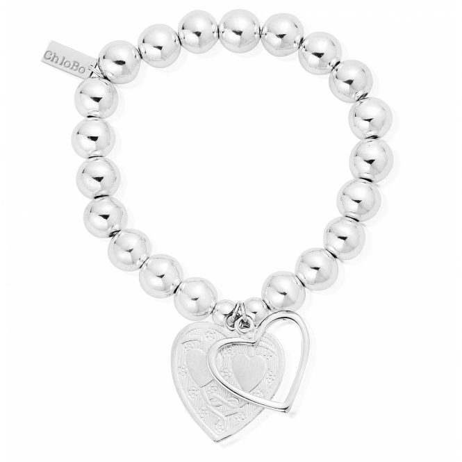SBMB028042 Women's Medium Ball Open And Decorated Heart Bracelet