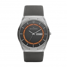 Skagen SKW6007 Melbye Titanium and Grey Steel-Mesh Day-Date Wristwatch