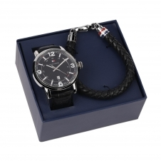 Tommy Hilfiger 2770026 Men's Wristwatch & Leather Bracelet Gift Set