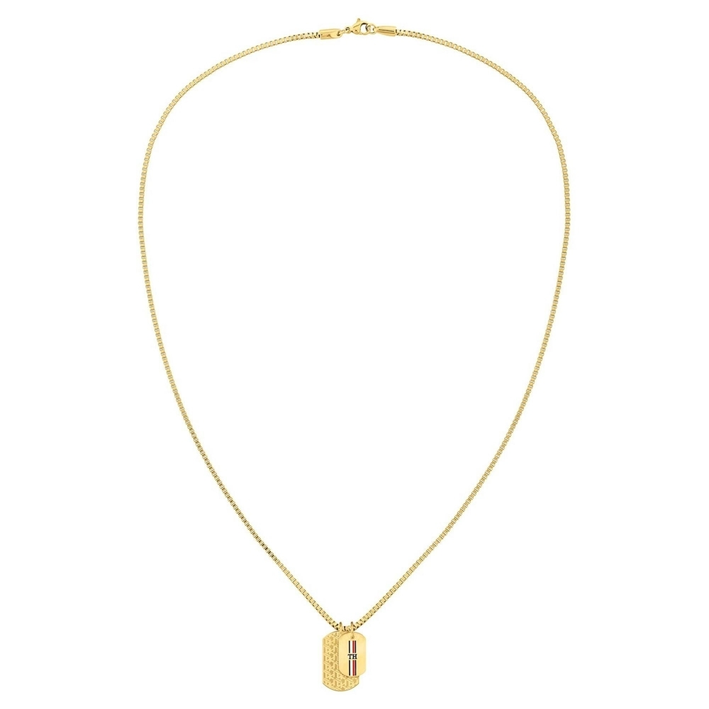 Tommy Hilfiger 2790211 Gold Tone Double Dog Tag Necklace