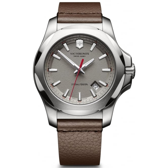 Victorinox 241738 Men's I.N.O.X Brown Leather Wristwatch With Grey Dial