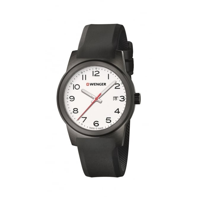 Wenger 01.0441.150 Men's Field Colour White Dial Black Silicone Wristwatch