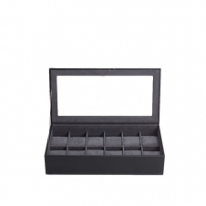 Wolf 309803 Black Wristwatch Tray With Lid Holds 12 Pieces