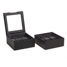 Wolf 319603 Set Of Two Black 6 Piece Wristwatch Trays