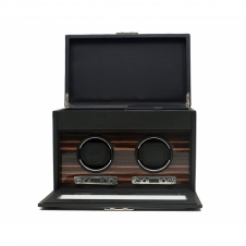 Wolf 457256 Roadster Double Wristwatch Winder With Storage Black