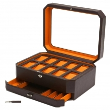 Wolf 458606 Windsor 10 Piece Wristwatch Box With Drawer