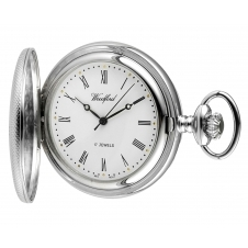 Woodford 1055 Chrome Plated Engine Turned Half Hunter Pocket Watch