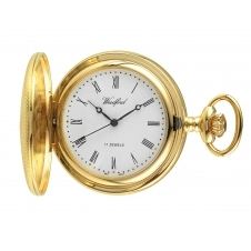 Woodford 1056 Gold Tone Engine Turned Half Hunter Pocket Watch