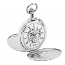 Woodford 1062 Chrome Plated Twin Lid Skeleton Mechanical Pocket Watch