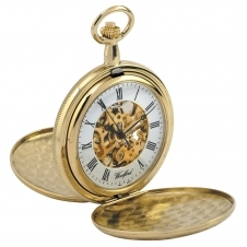 Woodford 1063 Gold Tone Twin Lid Skeleton Mechanical Pocket Watch