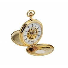Woodford 1077 Gold Tone Twin Lid Mechanical Pocket Watch
