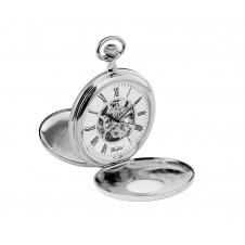 Woodford 1078 Chrome Plated Twin Lid Skeleton Mechanical Pocket Watch