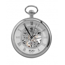 Woodford 1084 Chrome Plated Skeleton Open Face Pocket Watch